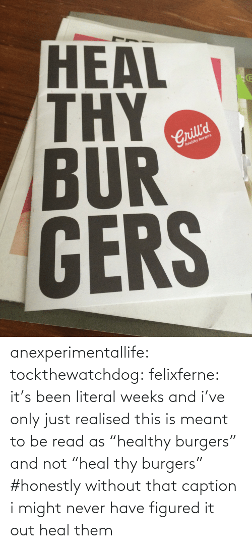 "Meant: HEAL  BUR  GERS  2  Crill'd  healthy burgers anexperimentallife: tockthewatchdog:  felixferne:  it's been literal weeks and i've only just realised this is meant to be read as ""healthy burgers"" and not ""heal thy burgers""  #honestly without that caption i might never have figured it out   heal them"