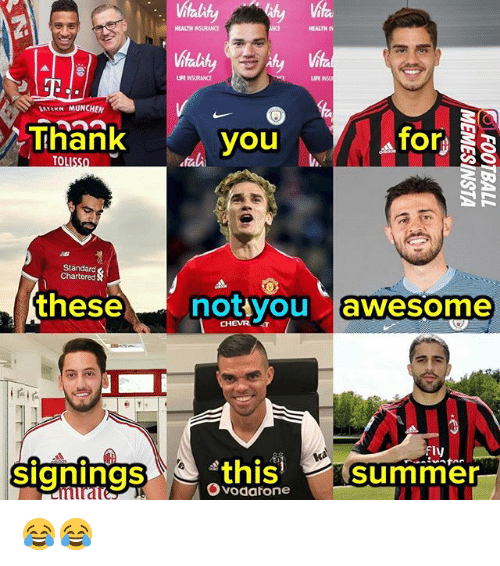 munchen: HEALTH RANCE  HEALTH IN  LIFE INSURANCE  LIFE  LATEKH MUNCHEN  Thank  Thank  you  for  Standard  Chartered  thesenotiyou a  awesome  CHEVRr  signingsthis summer  Fly  mirate  Ovodarone 😂😂