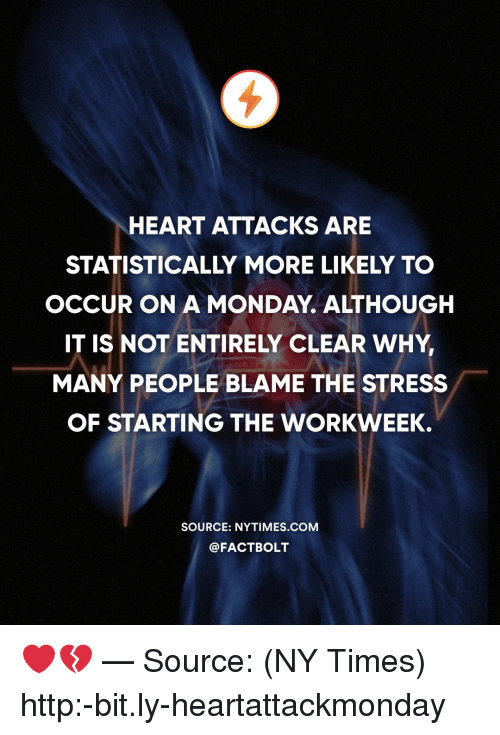 Memes, Heart, and Http: HEART ATTACKS ARE  STATISTICALLY MORE LIKELY TO  OCCUR ON A MONDAY. ALTHOUGH  IT IS NOT ENTIRELY CLEAR WHY  MANY PEOPLE BLAME THE STRESS  OF STARTING THE WORKWEEK.  SOURCE: NYTIMES.COM  @FACTBOLT ❤️💔 — Source: (NY Times) http:-bit.ly-heartattackmonday