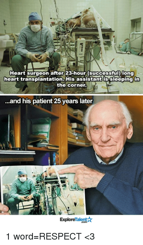 talent explore: Heart surgeon after 23-hour (successful Iong  heart transplantation. His assistant s sleeping in  the corner.  ...and his patient 25 years later  Talent  Explore 1 word=RESPECT <3