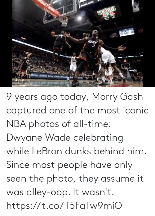 All Time: HEAT 9 years ago today, Morry Gash captured one of the most iconic NBA photos of all-time: Dwyane Wade celebrating while LeBron dunks behind him.   Since most people have only seen the photo, they assume it was alley-oop. It wasn't.   https://t.co/T5FaTw9miO