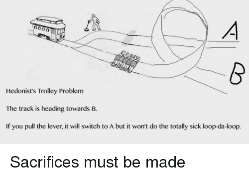 Sick, Trolley, and Switch: Hedonist's Trolley Problem  The track is heading towards B.  If you pull the lever, it will switch to A but it won't do the totally sick loop-da-loop. Sacrifices must be made