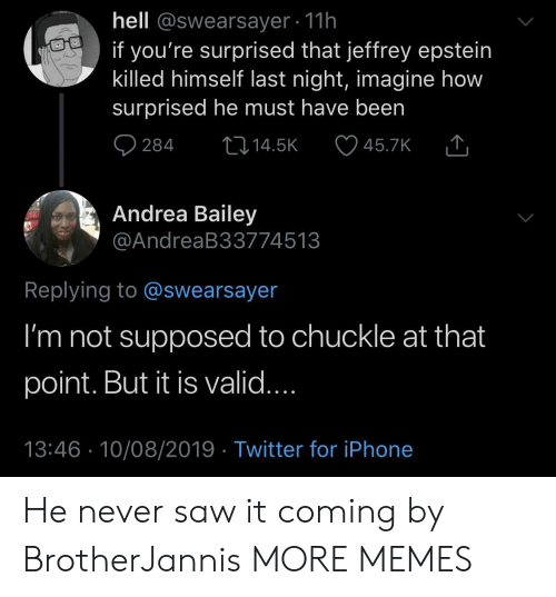 Never Saw It: hell @swearsayer 11h  if you're surprised that jeffrey epstein  killed himself last night, imagine how  surprised he must have been  284  L14.5K  45.7K  Andrea Bailey  @AndreaB33774513  Replying to @swearsayer  I'm not supposed to chuckle at that  point. But it is valid....  13:46 10/08/2019 Twitter for iPhone He never saw it coming by BrotherJannis MORE MEMES