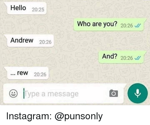 Hello, Instagram, and Who: Hello 20:25  Who are you? 20:26  Andrew 20:26  And? 20:26  rew 20:26  e lype a message Instagram: @punsonly
