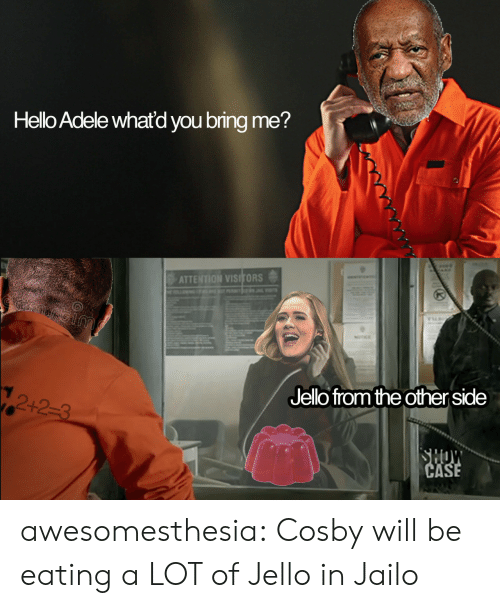 jello: Hello Adele whatd you bring me?  ATTENTION VISITORS  Jelo fromthe other side  12+2-3 awesomesthesia:  Cosby will be eating a LOT of Jello in Jailo
