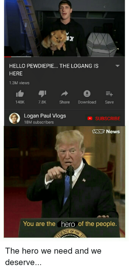 HELLO PEWDIEPIE THE LOGANG IS HERE 13M Views 148K 78K Share