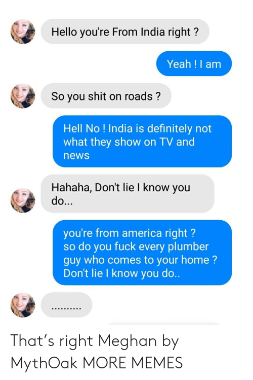plumber: Hello you're From India right?  Yeah !I am  So you shit on roads?  Hell No ! India is definitely not  what they show on TV and  news  Hahaha, Don't lie I know you  do...  you're from america right?  so do you fuck every plumber  guy who comes to your home?  Don't lie I know you do.. That's right Meghan by MythOak MORE MEMES