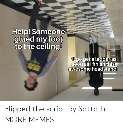 flipped: Help! Someone  glued my foot  to the ceiling!  FLl go get a ladder as  Soon as I finish this  awesome headstand!  STER Flipped the script by Sattoth MORE MEMES
