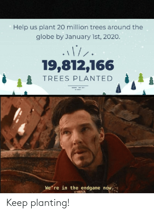the globe: Help us plant 20 million trees around the  globe by January 1st, 2020.  19,812,166  TREES PLANTED  We' re in the endgame now. Keep planting!