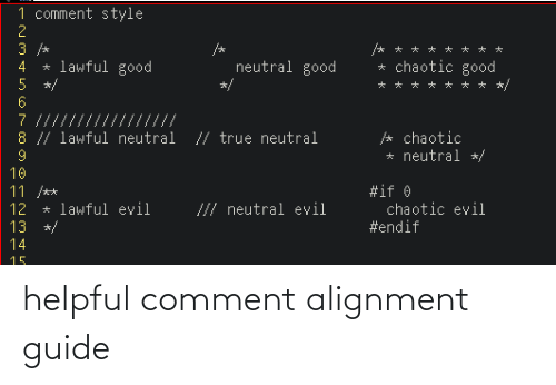 guide: helpful comment alignment guide