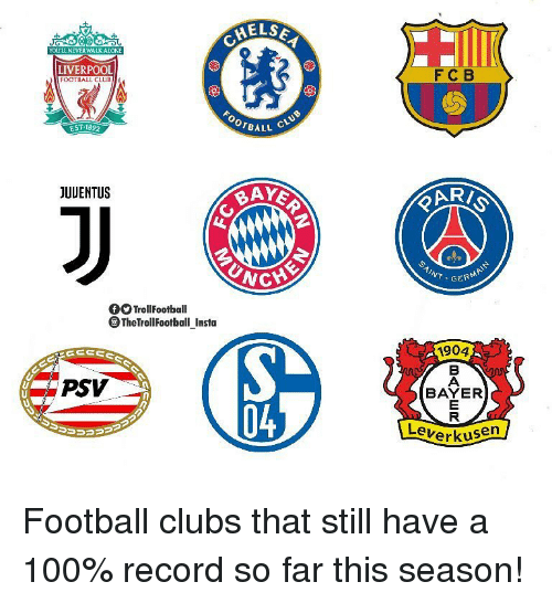 Anaconda, Football, and Memes: HELS  YOULL NEVER WALKATONE  FC B  LIVERPOOL  FOOTBALL CLUBI  OOTBALL  EST-1892  JUUENTUS  UNC  INT.GER  TrollFootball  TheTrollFootball Insta  1904  BAYER  PSV  04  LeverK  erkusen Football clubs that still have a 100% record so far this season!