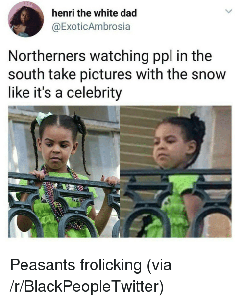 henri: henri the white dad  @ExoticAmbrosia  Northerners watching ppl in the  south take pictures with the snow  like it's a celebrity <p>Peasants frolicking (via /r/BlackPeopleTwitter)</p>