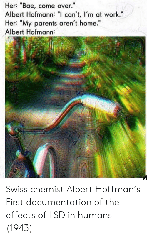 "Bae, Come Over, and Parents: Her: ""Bae, come over.""  Albert Hofmann: "" can't, I'm at work.""  Her: ""My parents aren't home.""  Albert Hofmann:  I1  It Swiss chemist Albert Hoffman's First documentation of the effects of LSD in humans (1943)"