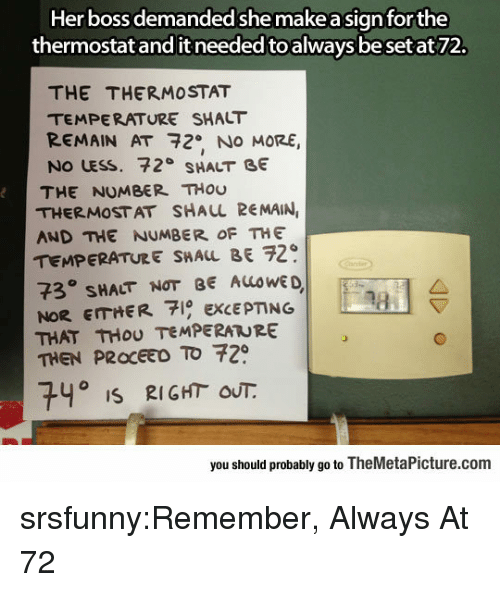 Tumblr, Blog, and Http: Her boss demanded she make a signforthe  thermostat and it needed to always beset at72.  THE THERMOSTAT  TEMPERATURE SHALT  REMAIN AT 72.. NO MORE  No LESS. 72° SHALT GE  THE NUMBER THou  THERMOSTAT SHAUL REMAIN  AND THE NUMBER OF THE  TEMPERATURE SHALL BE 29  73° SHACT NOT BE ALOWE  NoR EITHER EXCEPTING  THAT THoU TEMPERATURE  THEN PROCEEO TO 72  0  740 iS 2IGHT OUT.  you should probably go to TheMetaPicture.com srsfunny:Remember, Always At 72