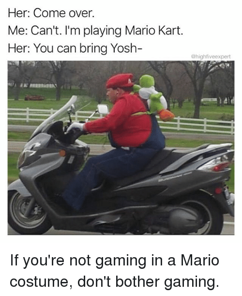 Botherers: Her: Come over.  Me: Can't. I'm playing Mario Kart.  Her: You can bring Yosh-  highfiveexpert If you're not gaming in a Mario costume, don't bother gaming.