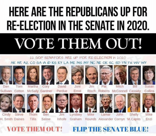 Blue, Cassidy, and Gop: HERE ARE THE REPUBLICANS UP FOR  RE-ELECTION IN THE SENATE IN 2020  VOTE THEM OUT!  22 GOP SENATORS ARE UP FOR RE-ELECTION in 2020  AK AR AZ CO GA IA ID KS KY LA ME MS MT NC NE OK SC SD TN TX WV WY  etirin  Mitch  Dan Tom Martha Cory David Joni Jm Pat  Bill  Susan  Sullivan Cotton McSally Gardner Perdue Emst Risch Roberts McConnell Cassidy Collins  etir  Jim Lyndsey Mike Lamar John Shelly Mike  H. Smith Daines Tillis Sasse Inhofe Graham Rounds Alexander Cornyn M.Capito Enzi  Cindy Steve Thom Ben  VOTE THEM OUT!  FLIP THE SENATE BLUE!