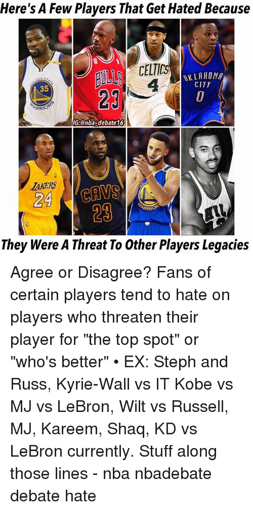 "Cavs, Memes, and Nba: Here's A Few Players That Get Hated Because  CELTICS  4  OKLAHOM  CITY  35  29  IG:@nba debate16  AKERS  24 CAVS  29  ARRIO  They Were A Threat To Other Players Legacies Agree or Disagree? Fans of certain players tend to hate on players who threaten their player for ""the top spot"" or ""who's better"" • EX: Steph and Russ, Kyrie-Wall vs IT Kobe vs MJ vs LeBron, Wilt vs Russell, MJ, Kareem, Shaq, KD vs LeBron currently. Stuff along those lines - nba nbadebate debate hate"