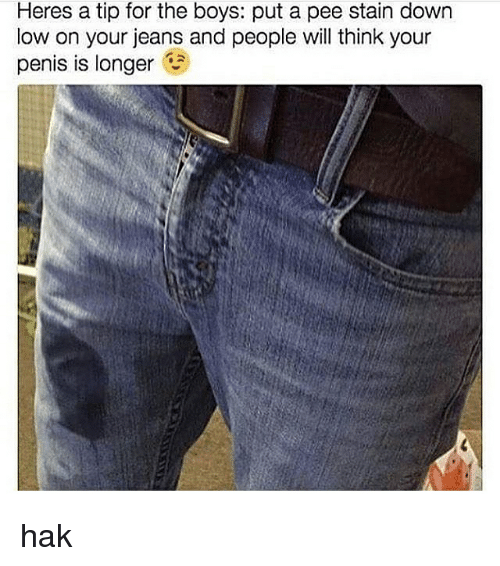 Staine: Heres a tip for the boys: put a pee stain down  low on your jeans and people will think your  penis is longer hak