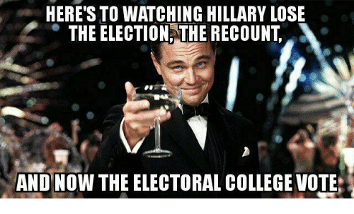 electoral-college-votes: HERE'S TO WATCHING HILLARY LOSE  THE ELECTION THE RECOUNT  AND NOW THE ELECTORAL COLLEGE VOTE