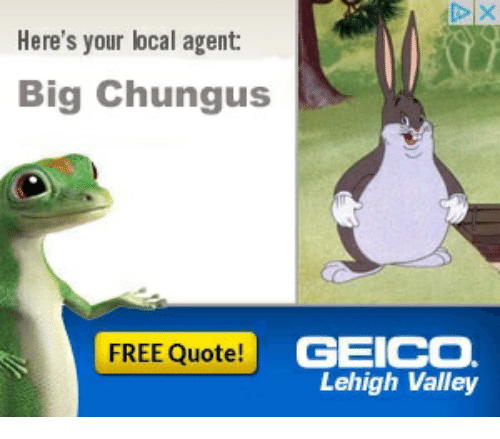Here S Your Local Agent Big Chungus Free Quote Geico Lehigh Valley