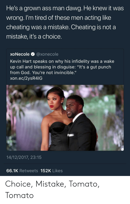"""Ass, Cheating, and God: He's a arown ass man dawa. He knew it was  wrong. l'm tired of these men acting like  cheating was a mistake. Cheating is not a  mistake, it's a choice  xoNecole@xonecole  Kevin Hart speaks on why his infidelity was a wake  up call and blessing in disguise: """"it's a gut punch  from God. You're not invincible.""""  xon.ec/2ysR4IG  14/12/2017, 23:15  66.1K Retweets 152K Likes Choice, Mistake, Tomato, Tomato"""