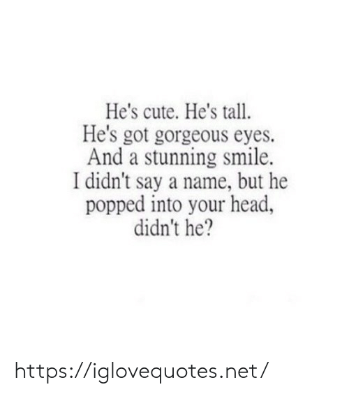 Cute, Head, and Gorgeous: He's cute. He's tall  He's got gorgeous eyes.  And a stunning smile.  I didn't say a name, but he  popped into your head,  didn't he? https://iglovequotes.net/