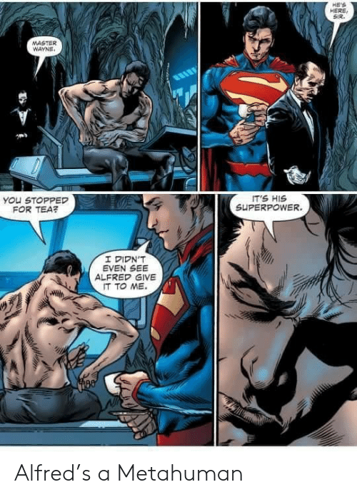 Superpower, Tea, and Master: HE'S  HERE  SIR  MASTER  WAYNE  IT'S HIS  SUPERPOWER.  You STOPPED  FOR TEA?  I DIDN'T  EVEN SEE  ALFRED GIVE  IT TO ME Alfred's a Metahuman