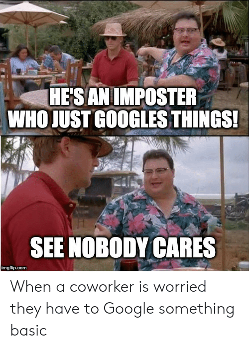 nobody cares: HESAN IMPOSTER  WHO JUST GOOGLES THINGS!  SEE NOBODY CARES  imgflip.com When a coworker is worried they have to Google something basic