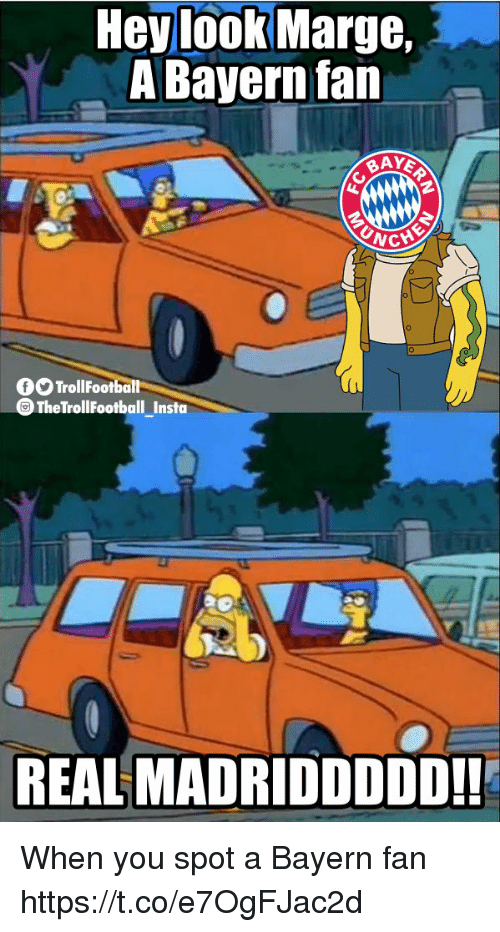 Memes, Bayern, and 🤖: Hev look Marge.  A Bayern fan  TrollFootball  TheTrollFootball Insto  REAL MADRIDDDDD!! When you spot a Bayern fan https://t.co/e7OgFJac2d