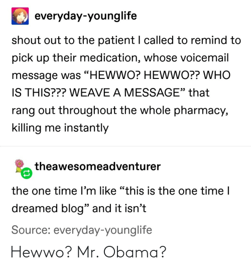 Obama: Hewwo? Mr. Obama?