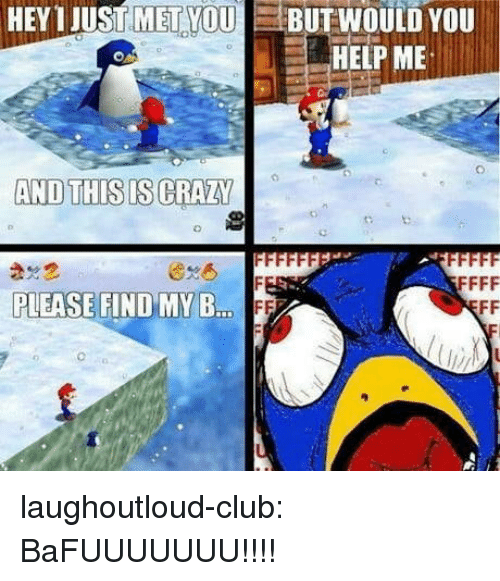This Is Crazy: HEY 1 JUST MET YOUBUTWOULD YOU  HELP ME  AND THIS IS CRAZY  PLEASE FIND MY B  ..FF laughoutloud-club:  BaFUUUUUUU!!!!