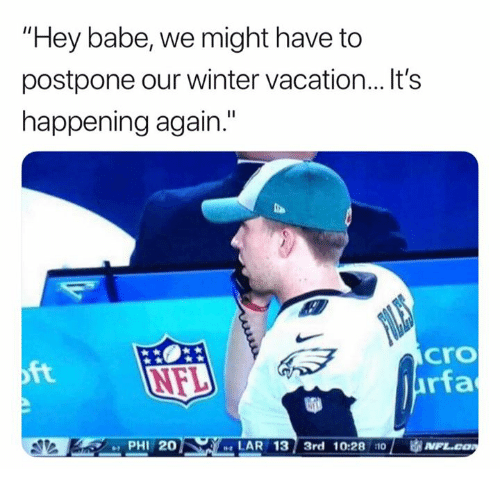 """Andrew Bogut, Nfl, and Winter: """"Hey babe, we might have to  postpone our winter vacation...It's  happening again.""""  cro  rfa  ft  PHI 20  LAR 13 3rd 10:28 110  1 审N"""