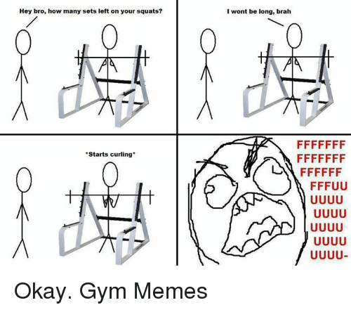 gym memes: Hey bro, how many sets left on your squats?  I wont be long, brah  *Starts curling*  い FFFFFF  FFFUU  leo  一) UUUU  FF FUUJUJ  FF FUuUuU  FF Okay.