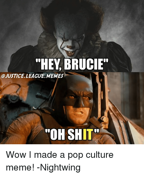 "wows: ""HEY, BRUCIE""  A)JUSTICE. LEAGUE .MEMES-  ""OH SHIT Wow I made a pop culture meme! -Nightwing"