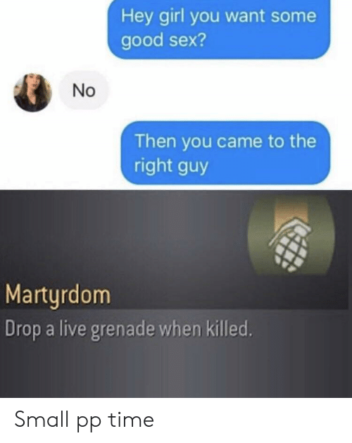 Hey Girl: Hey girl you want some  good sex?  No  Then you came to the  right guy  Marturdom  Drop a live grenade when killed. Small pp time