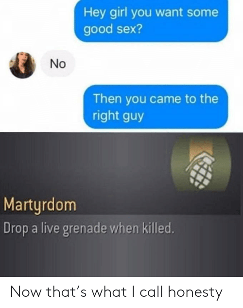 Some Good: Hey girl you want some  good sex?  Then you came to the  right guy  Martyrdom  Drop a live grenade when killed.  No Now that's what I call honesty