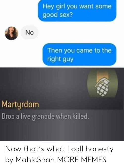 Some Good: Hey girl you want some  good sex?  Then you came to the  right guy  Martyrdom  Drop a live grenade when killed.  No Now that's what I call honesty by MahicShah MORE MEMES