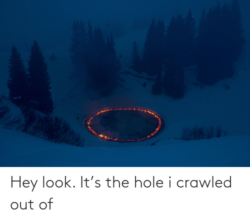 hole: Hey look. It's the hole i crawled out of