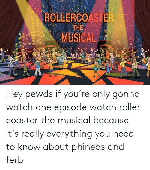 need-to-know: Hey pewds if you're only gonna watch one episode watch roller coaster the musical because it's really everything you need to know about phineas and ferb