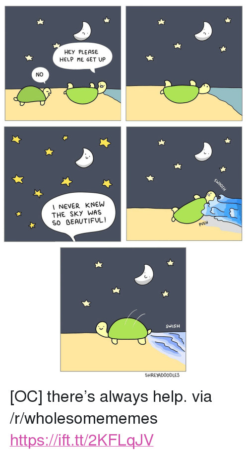 "Beautiful, Help, and Never: HEY PLEASE  HELP ME GET UP  NO  I NEVER KNEW  THE SKY WAS  SO BEAUTIFUL!  PUSH  SWISH  SHREYADOODLES <p>[OC] there&rsquo;s always help. via /r/wholesomememes <a href=""https://ift.tt/2KFLqJV"">https://ift.tt/2KFLqJV</a></p>"