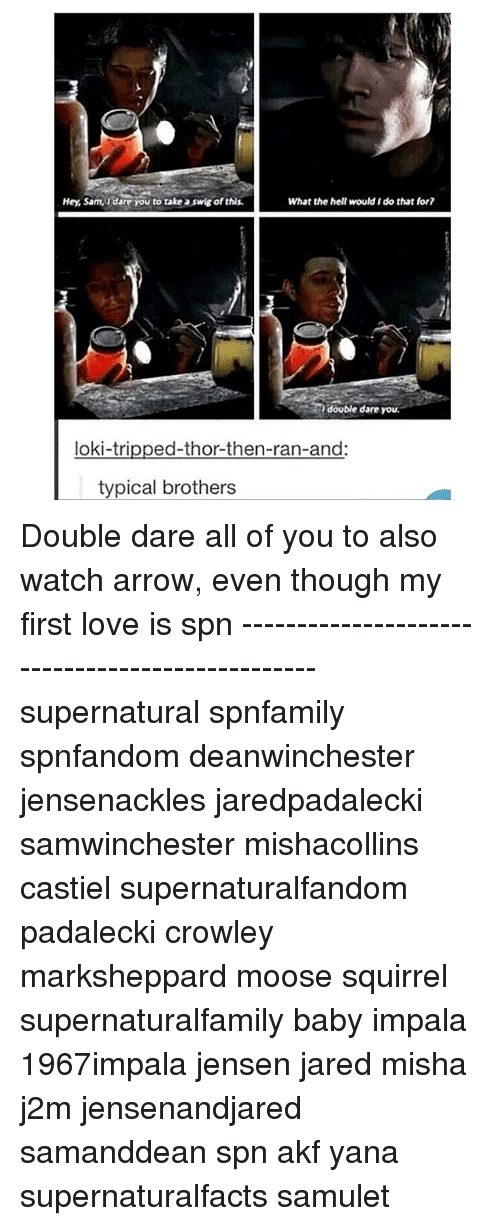 double dare: Hey, Sam, Idare You to take a swig ofthis.  What the hell would I do that for?  double dare you.  loki-tripped-thor-then-ran-and:  typical brothers Double dare all of you to also watch arrow, even though my first love is spn ------------------------------------------------ supernatural spnfamily spnfandom deanwinchester jensenackles jaredpadalecki samwinchester mishacollins castiel supernaturalfandom padalecki crowley marksheppard moose squirrel supernaturalfamily baby impala 1967impala jensen jared misha j2m jensenandjared samanddean spn akf yana supernaturalfacts samulet