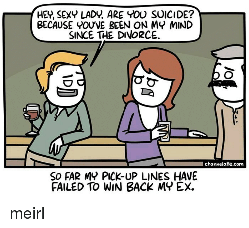 Pick Up Lines: HEY, SEXY LADY. ARE YOU SUICIDE?  BECAUSE YOU'VE BEEN ON MY MIND  SINCE THE DIVORCE  channelate.com  SO FAR MY PICK-UP LINES HAVE  FAILED TO WIN BACK MY EX. meirl