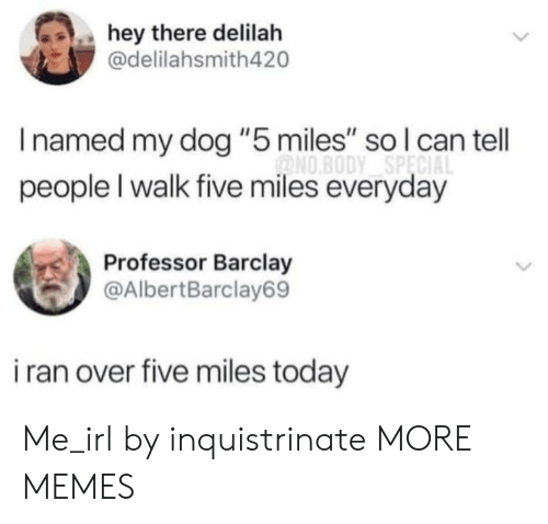 "barclay: hey there delilah  @delilahsmith420  Inamed my dog ""5 miles"" so l can tell  ONO.BODY SPECIA  people I walk five miles everyday  Professor Barclay  @AlbertBarclay69  i ran over five miles today Me_irl by inquistrinate MORE MEMES"