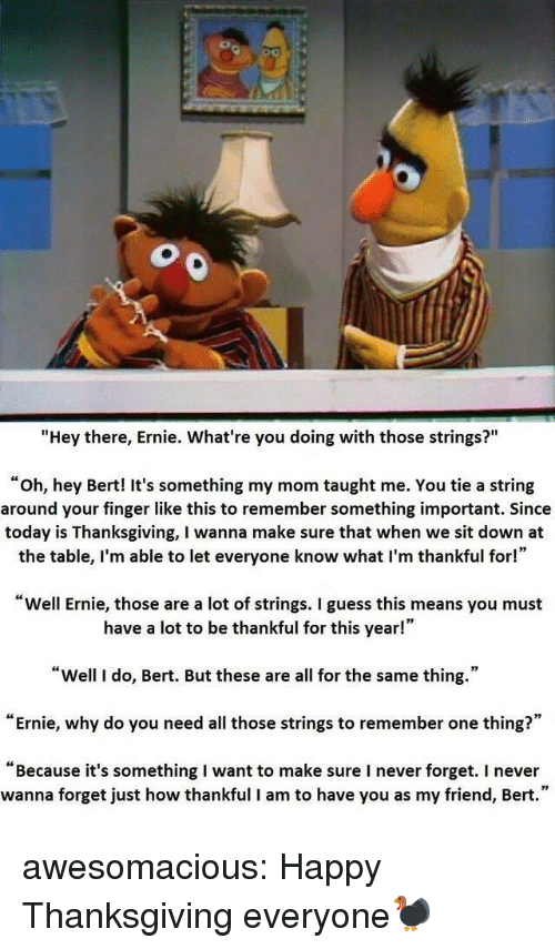 "Thanksgiving, Tumblr, and Blog: ""Hey there, Ernie. What're you doing with those strings?""  ""oh, hey Bert! It's something my mom taught me. You tie a string  around your finger like this to remember something important. Since  today is Thanksgiving, I wanna make sure that when we sit down at  the table, I'm able to let everyone know what I'm thankful for!""  Well Ernie, those are a lot of strings. I guess this means you must  have a lot to be thankful for this year!""  ""Well I do, Bert. But these are all for the same thing.""  ""Ernie, why do you need all those strings to remember one thing?""  ""Because it's something I want to make sure I never forget. I never  wanna forget just how thankful I am to have you as my friend, Bert."" awesomacious:  Happy Thanksgiving everyone🦃"