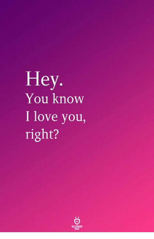 Love, I Love You, and You: Hey  You know  I love you,  right?