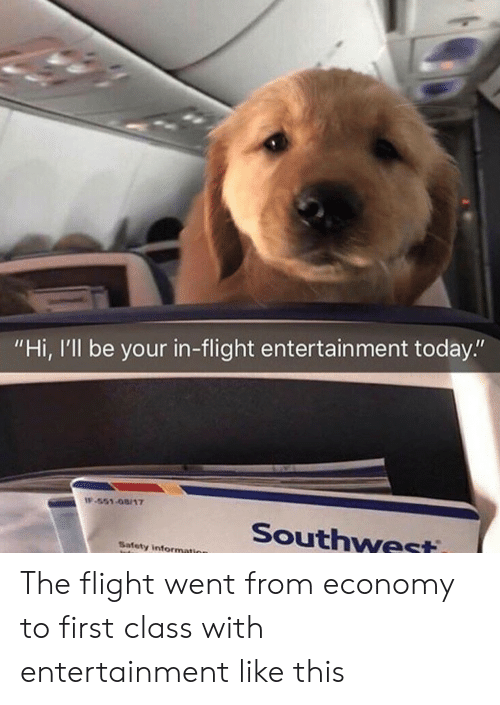 """Flight, Information, and Southwest: """"Hi, I'll be your in-flight entertain ment today.""""  IF-551-08/17  Southwest  Safety information The flight went from economy to first class with entertainment like this"""
