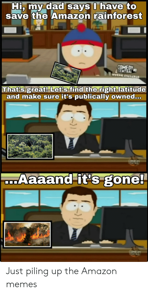 Aaaand Its Gone: Hi, my dad says I have to  the Amazon rainforest  COMEDY  CENTRAL  WERE AVAILALE  That's great! Let's find the right latitude  and make sure it's publically owned...  COMED  Aaaand it's gone!  COMEDY Just piling up the Amazon memes