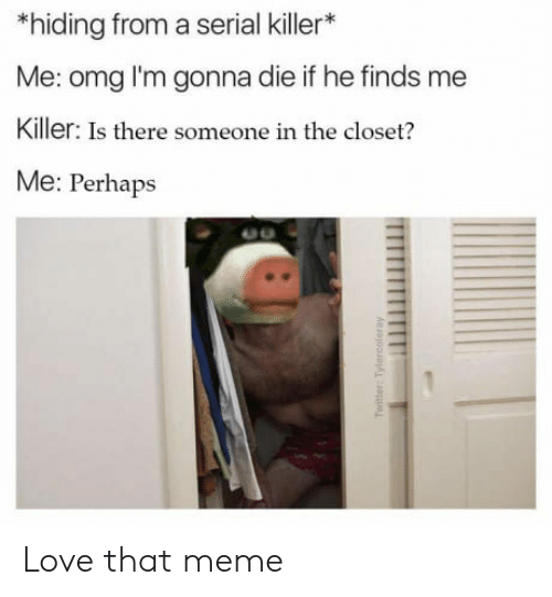 Closets: *hiding from a serial killer*  Me: omg l'm gonna die if he finds me  Killer: Is there someone in the closet?  Me: Perhaps Love that meme