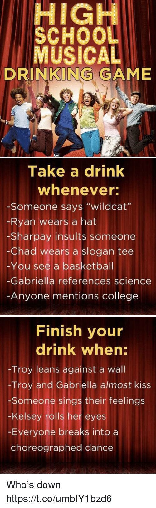"College, Drinking, and Game: HIGH  SCHOO  MUSICAL  DRINKING GAME   Take a drink  whenever  -Someone says ""wildcat""  Ryan wears a hat  -Sharpay insults someone  -Chad wears a slogan tee  -You see a basketbal  -Gabriella references science  Anyone mentions college   Finish your  drink when:  Troy leans against a wall  -Troy and Gabriella almost kiss  Someone sings their feelings  -Kelsey rolls her eyes  -Everyone breaks into a  choreographed dance Who's down https://t.co/umbIY1bzd6"