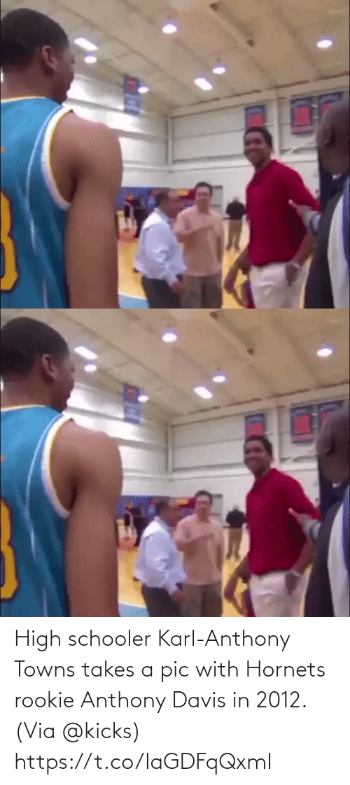 davis: High schooler Karl-Anthony Towns takes a pic with Hornets rookie Anthony Davis in 2012.  (Via @kicks)  https://t.co/IaGDFqQxmI